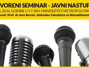 Otvoreni seminar – Javni nastup na Univerzitetu Metropolitan u Beogradu