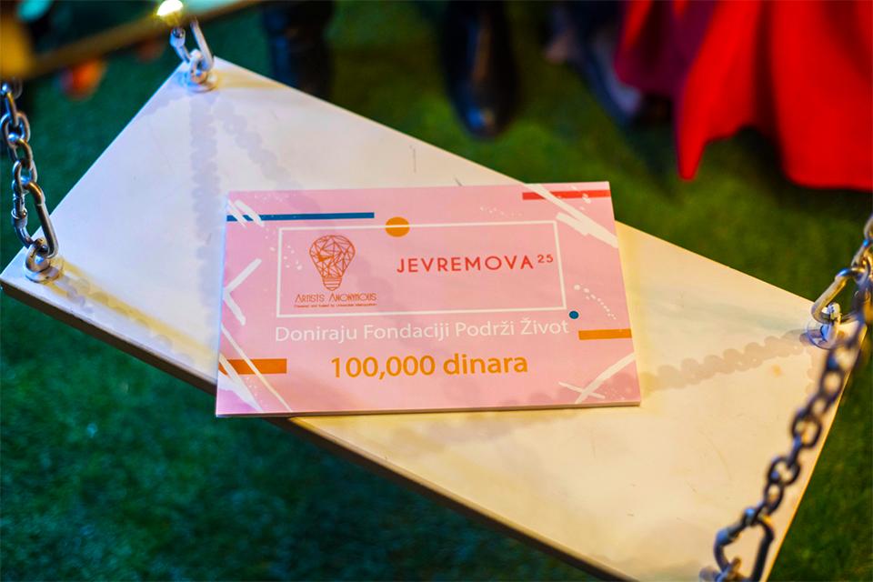"""Artists Anonymous i Jevremova25 donirali 100,000 dinara za fondaciju """"Podrži Život"""""""