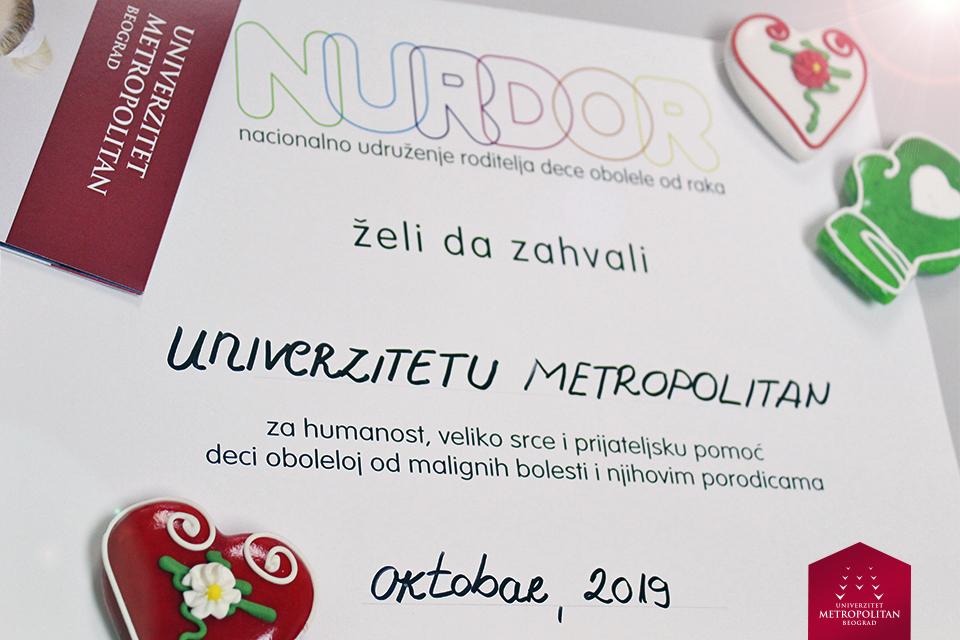 Udruženje NURDOR dodelilo zahvalnicu Univerzitetu Metropolitan